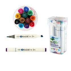 Набор маркеров для скетчинга 12цв двусторонние 1-7мм Basir МС-5219-12