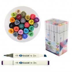 Набор маркеров для скетчинга 24цв двусторонние 1-7мм Basir МС-5189-24