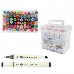 Набор маркеров для скетчинга 60цв двусторонние 1-7мм Basir МС-5219-60