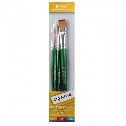 Набор кистей 4шт (Синтетика имитация колонок №1,4,8,10) Creative корот ручка Pinax 239994 ассорти