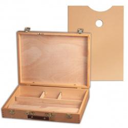 Ящик художника 24*32*7см дерево ячейк и  пенал для кистей и красок, палитра Pinax SB-5 бук