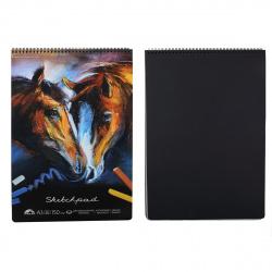 Блокнот для пастели Кони А3, 30л, офсет 150 г/кв.м., перфорация на отрыв, на евроспирали, жесткая подложка, цвет черный Феникс 49777