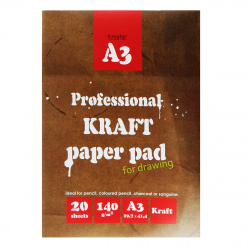 Папка для эскизов А3, 20л, 140г/кв.м. Kroyter 02649