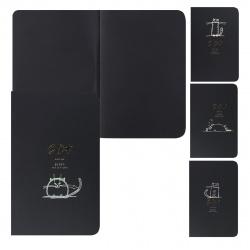 Блокнот для эскизов/скетчбук А5 (180*250) 24л 110г/м2 обл мягк карт фольг КОКОС Cat 207636 черный