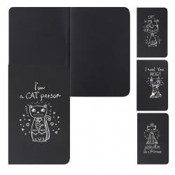 Блокнот для эскизов/скетчбук А5 (145*210) 24л 110г/м2 обл мягк карт фольг КОКОС Cat 207638 черный