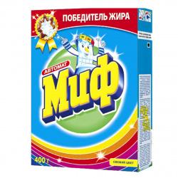 Порошок Миф автомат, для цветного белья, картонная коробка, 400гр Свежий цвет 81696262
