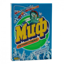 Порошок Миф ручная стирка, для всех типов белья, картонная коробка, 400гр Морозная свежесть 81696265