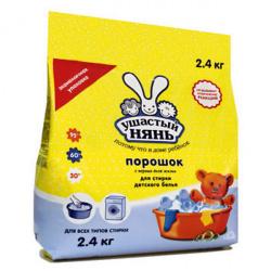 Порошок Ушастый нянь универсальный, для детского белья, полиэтиленовый пакет, 2,4кг