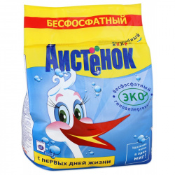 Порошок Ушастый нянь универсальный, для детского белья, полиэтиленовый пакет, 4кг Аистенок