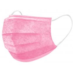Маска одноразовая 3-х слойная с носовым фиксатором нестерильная розовая
