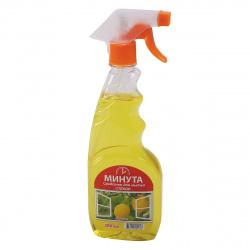 Моющее средство Минута  для стекол с курком 500мл Лимон 1-0111