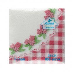 Салфетки Лилия 24*24 1-слойные 100шт Цветы-клетка 8932