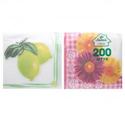 Салфетки Лилия 24*24 1-слойные 200шт Гербера, Лимон 7587