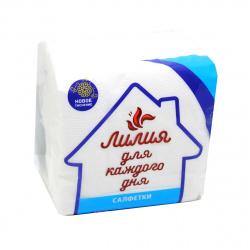 Салфетки Лилия Soft 24*24 1-слойные 100шт 0708 белые