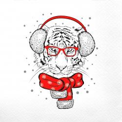 Салфетки Перышко Prestige 33*33 3-слойные 20шт Гламурный тигр