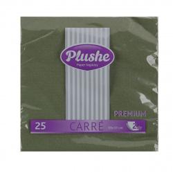 Салфетки Plushe 33*33см, 2-слойная, 25шт, зеленый premium carre 2029
