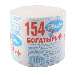 Бумага туалетная без втулки, 1-слойная, 1шт, 65м, целлюлоза Plushe 16502