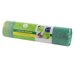 Мешки для мусора 60*70, 60л 14мкм Русалочка  (20шт/рул) с завязками 078303 зеленые