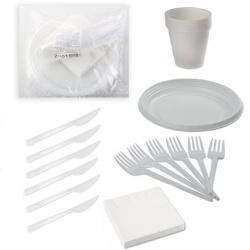 Набор :вилка,нож,салфетка,тарелка,стакан(на шестерых) 119014
