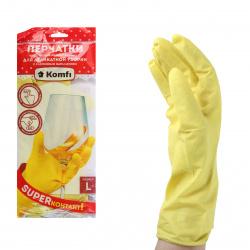 Перчатки латекс, L, 1 пара, цвет желтый, внутреннее напыление да Anhui Zhonglian Latex Gloves Manufacturing Co.LTD 17063