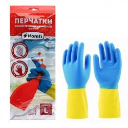 Перчатки латекс, L, 1 пара, рельефная, цвет желтый/синий, внутреннее напыление нет