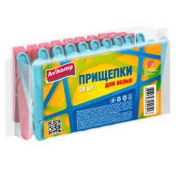Прищепки для белья Eco Technology, 20 шт,пластик,mix Avikomp 40516