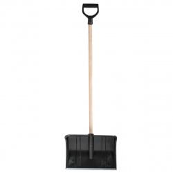 Лопата снеговая усиленная (Б) пластиковая 50х37,5см с оцинкованной накладкой с деревянным черенком