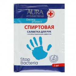 Салфетки влажные 100шт AURA Antibacterial  антибактериальные в саше  10813