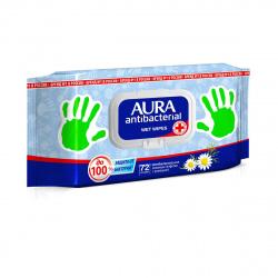 Салфетки влажные 72шт AURA с антибактериальным эффектом Derma Protect Ромашка Big-pack с крышкой  10037