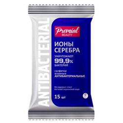 Салфетки влажные 15шт PREMIAL антибак Серебрянная защита 64976