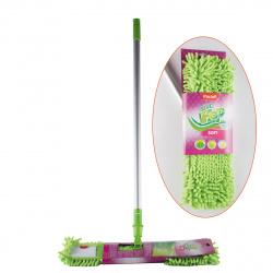 Швабра PACLAN Green MOP SOFT с плоской насадкой ,шенил ,телескопич.ручка 421140