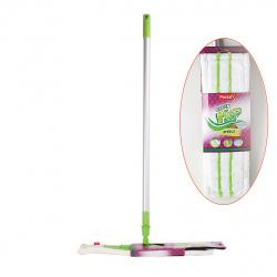 Швабра PACLAN Green MOP EFFECT с плоской насадкой, микрофибра, телескопич.ручка 421150