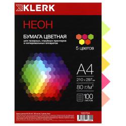 Бумага цветная А4 80г/м2 100л 5 цветов неон KLERK 183704
