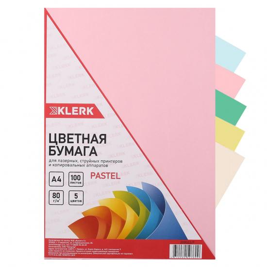 Бумага цветная А4, 80г/кв.м., 100л, 5 цветов, пастель KLERK 200022-Р