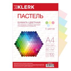Бумага цветная А4 80г/м2 100л 5 цветов пастель KLERK 200022