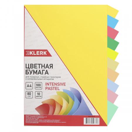 Бумага цветная А4, 80г/кв.м., 100л, 10 цветов, интенсив, пастель KLERK 206783-Р