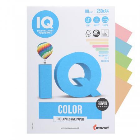 Бумага цветная А4 80г/м2 250л 5цв пастель IQ Color pastel 00-00006284/78425 (желт, оранж, зел, роз, гол)