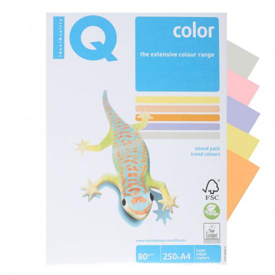 Бумага цветная А4, 80г/кв.м., 250л, 5 цветов, интенсив IQ Color Mondi Trendy 00-00006285