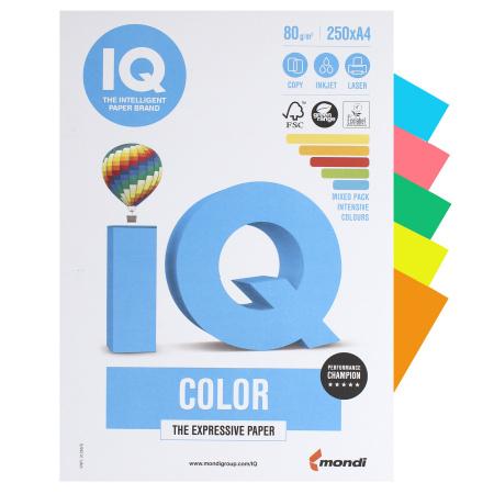 Бумага цветная А4, 80г/кв.м., 250л, 5 цветов, интенсив IQ Color Mondi 00-00006282