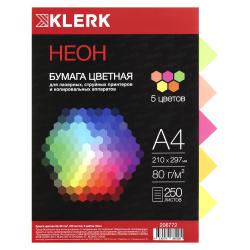 Бумага цветная А4 75г/м2 250л 5 цветов неон KLERK 206772