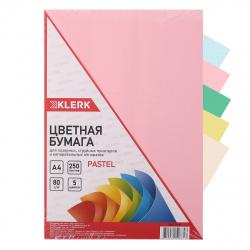 Бумага цветная А4, 80г/кв.м., 250л, 5 цветов, пастель KLERK 206770-Р