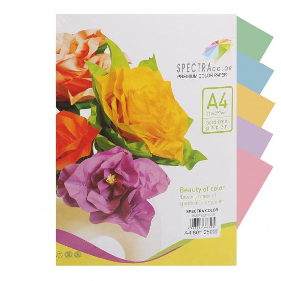 Бумага цветная А4, 80г/кв.м., 250л, 5 цветов, пастель Spectra Color 829