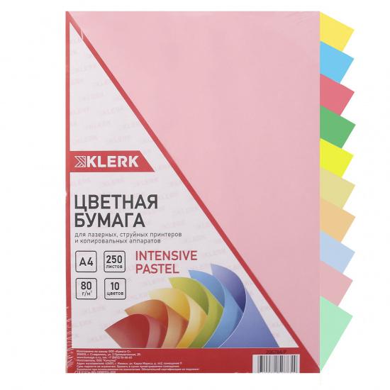 Бумага цветная А4, 80г/кв.м., 250л, 10 цветов, интенсив, пастель KLERK 206784-Р