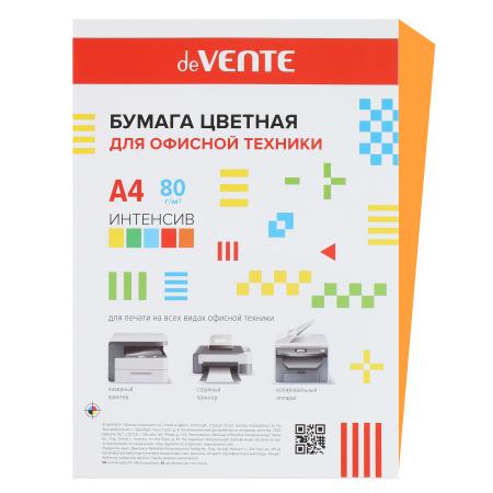 Бумага цветная А4, 80г/кв.м., 20л, интенсив, оранжевый deVENTE 2072919