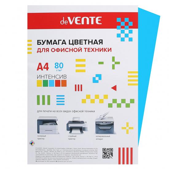 Бумага цветная А4, 80г/кв.м., 20л, интенсив, синий deVENTE 2072920