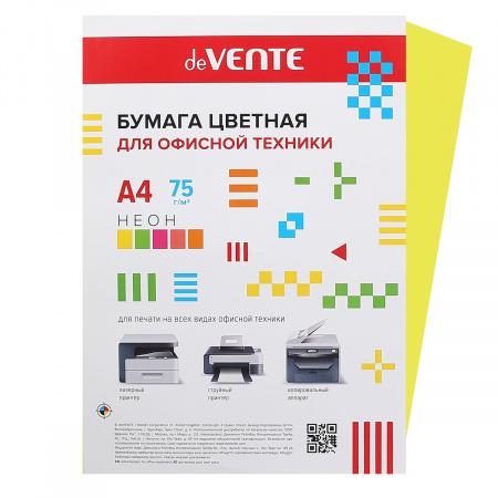 Бумага цветная А4 80г/м2 20л deVENTE 2072932 неон желтый
