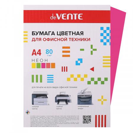 Бумага цветная А4 80г/м2 20л deVENTE 2072934 неон малиновый