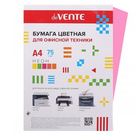 Бумага цветная А4 80г/м2 20л deVENTE 2072936 неон розовый