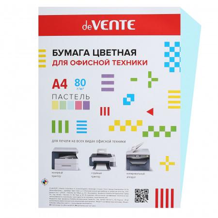 Бумага цветная А4 80г/м2 20л пастель deVENTE 2072901 голубой