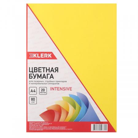 Бумага цветная А4 80г/м2 20л интенсив KLERK 206794/Р желтый